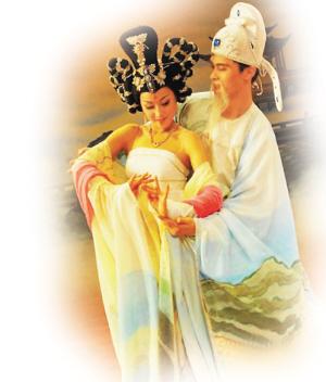 古代美女手绘怀孕
