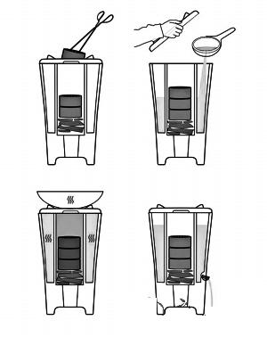 """煤饼炉外观的设计灵感来自于古代""""天圆地方""""的观念,它不仅提供方便"""