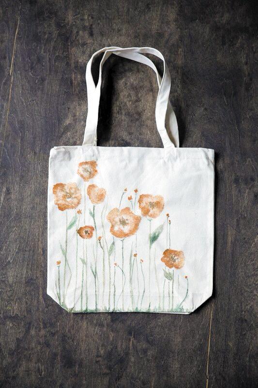 水彩罂粟包 手绘乐趣多