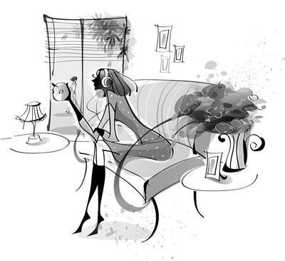 女生喝茶图片手绘唯美